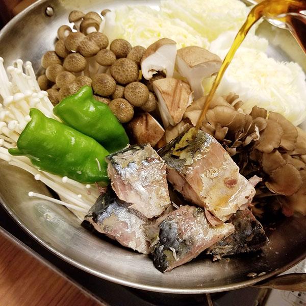鯖すき焼き盛り付け